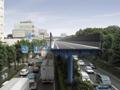 小型道路高架橋の急速・省スペース施工<p>クル・スル工法</p>